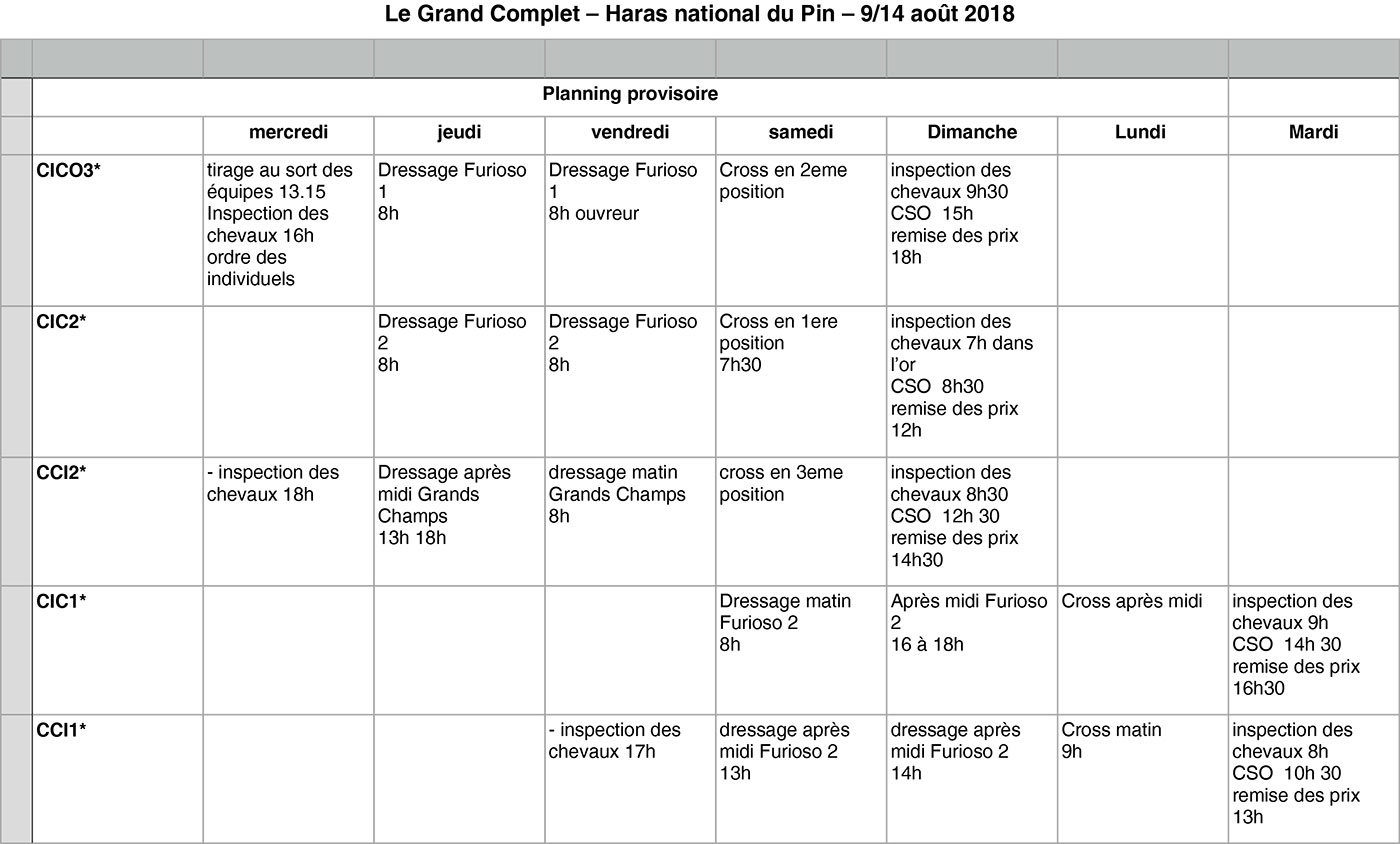 Planning Le Grand Complet 2018